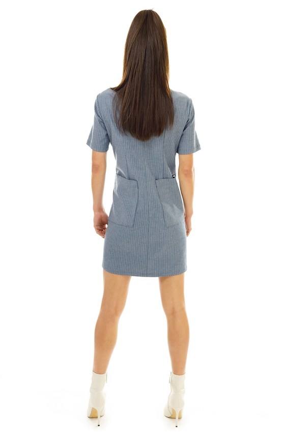 Grey Pinstripe Coverall Dress