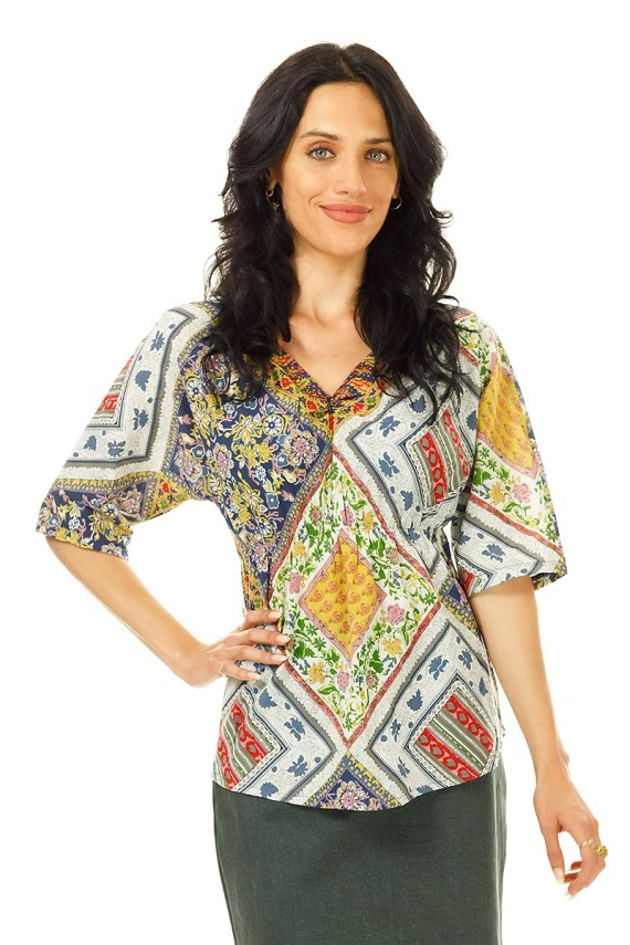 Bohemian Ruched 3/4 Sleeve Top
