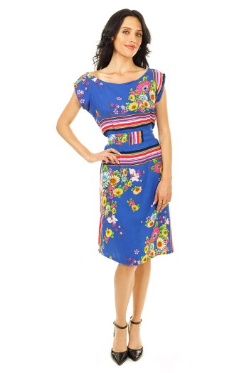 Blue Panels and Buds Belted Blouse Dress