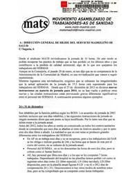 Carta abierta a la Dirección General de RR.HH. y a los sindicatos de la Mesa Sectorial de Sanidad