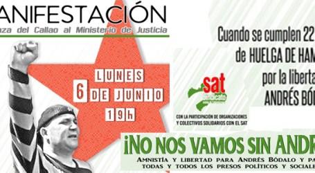 El lunes 6 de junio manifestación en apoyo a Andrés Bódalo y a la #HuelgaHambreSAT A las 19h en Callao