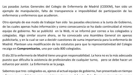 JUNTA GENERAL COLEGIADOS DE ENFERMERIA DE MADRID DIA 20 DE DICIEMBRE CINE CAPITOL: GRAN VÍA 41