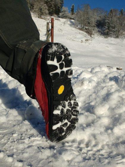 Super Grip im Schnee im Barfuss Minimal Schuh