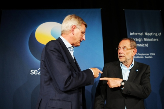 Carl Bildt and Javier Solana         Photo: Gunnar Seijbold/Government offices
