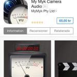 MyMyk Camera Audio Station är iOS-appar (mobil+padda) som nämns i den ytterst tunna manualen, men den kostar 65 kr (och är senast uppdaterad 5 nov 2012). Lite väl saftigt. Den borde ingått i priset och vi lämnade den utanför detta test.
