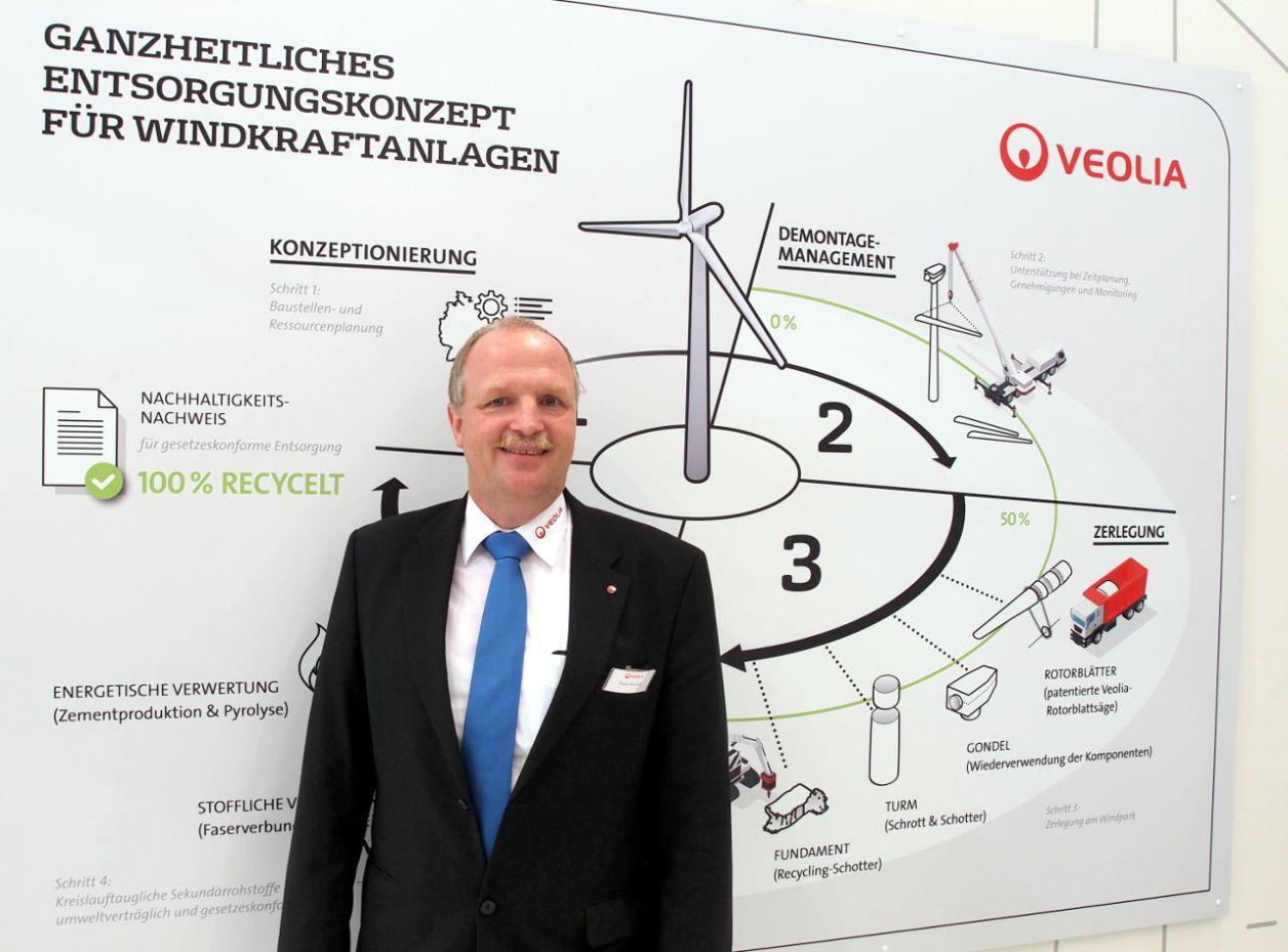 VEOLIA社のブース。同社が構想する「100%リサイクルコンセプトの模式図」と担当のクラウス・ボルナー氏 © Matsuda Masahiro