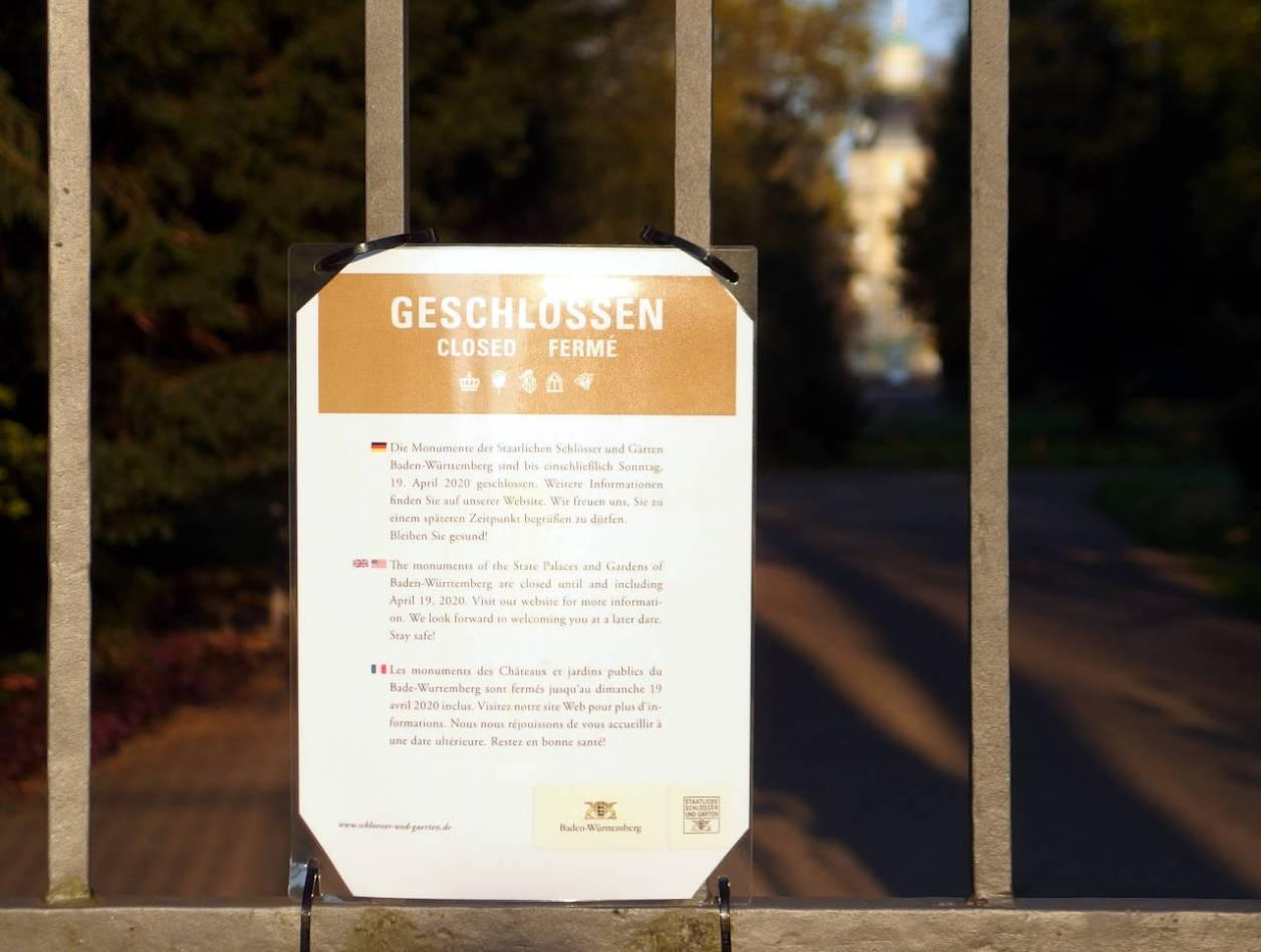 カールスルーエ城公園の裏は施錠されている。しかし、広々とした公園の立ち入り禁止に意味はあるのだろうか? © Matsuda Masahiro