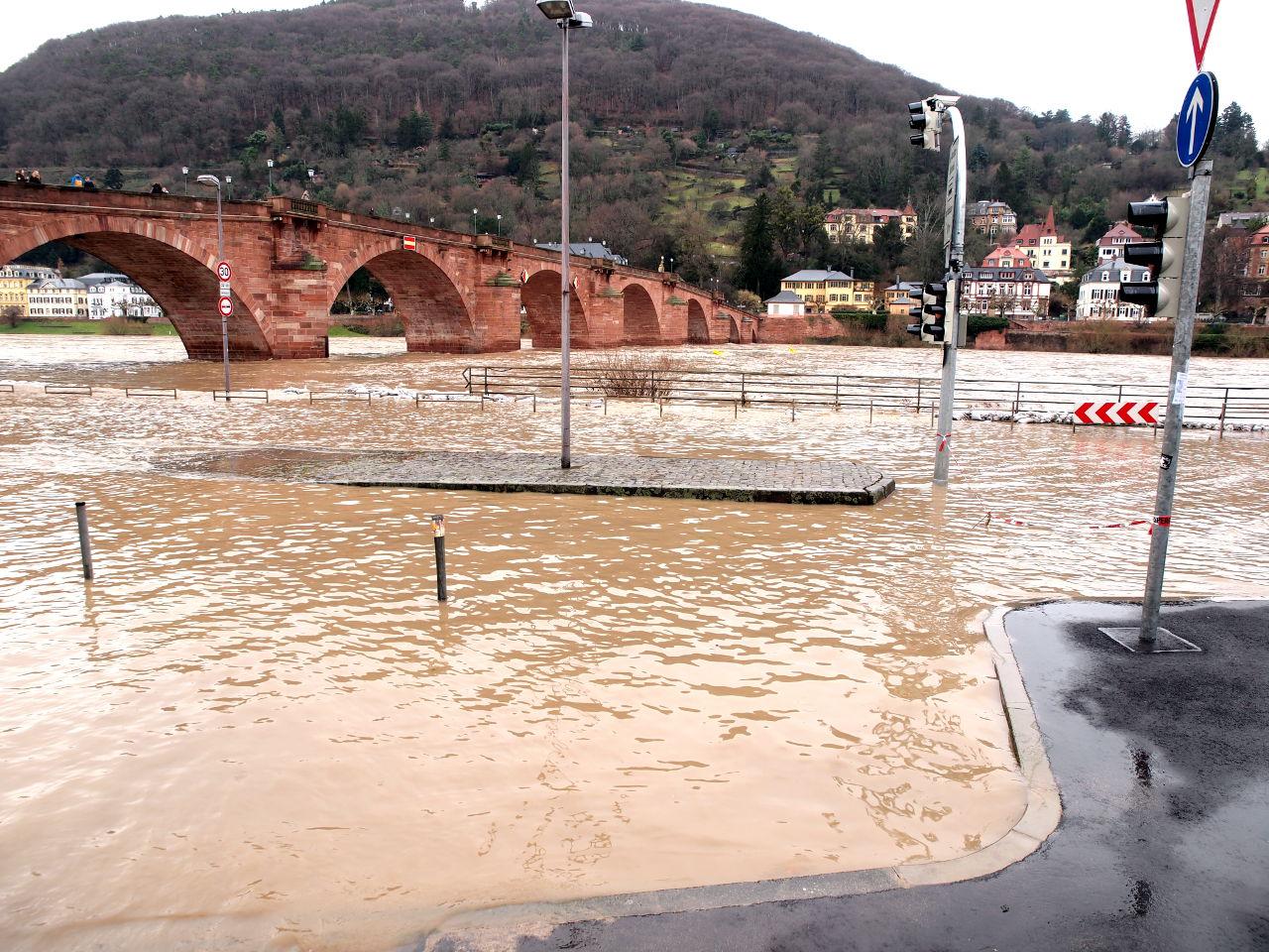 氾濫したネッカー川、川沿いの道路が冠水している、ハイデルベルク、2018.01.06. © Matsuda Masahiro
