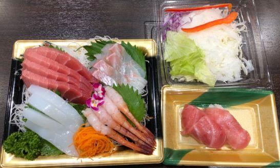 刺し身と寿司とサラダ