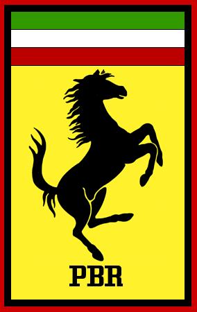 フェラーリ風のPBRという文字のロゴ