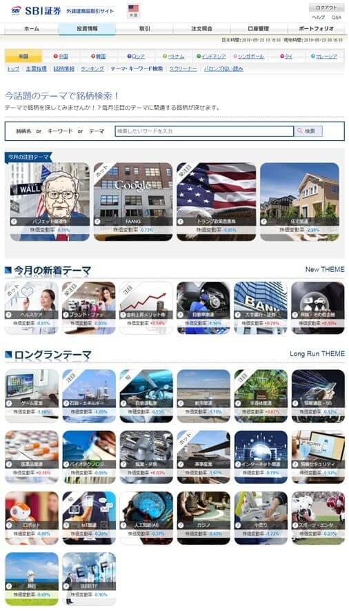 SBI証券の米国テーマ・キーワード検索サービス (2)