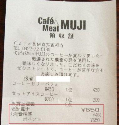 ポイントで決済したCafe&Meal MUJIの領収書