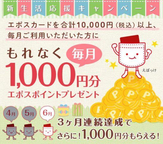 エポスカードの1,000ポイントプレゼントキャンペーン