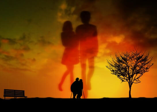 夕日と夫婦