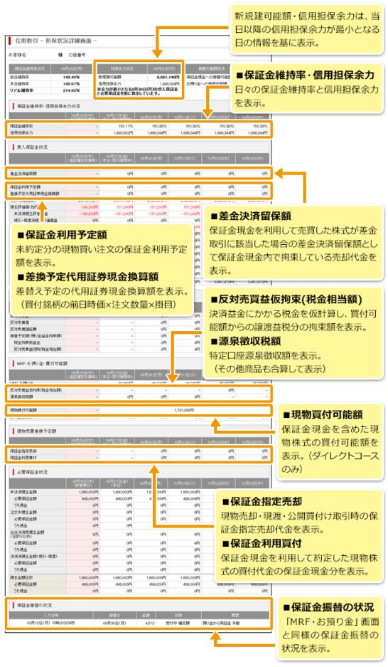 SMBC日興証券の担保状況詳細画面