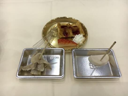 日本ハムグループ展示会のワッフルと豚肉