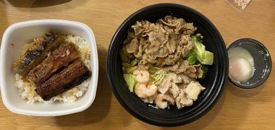 吉野家の鰻重とライザップ牛サラダエビアボカド(肉増し)
