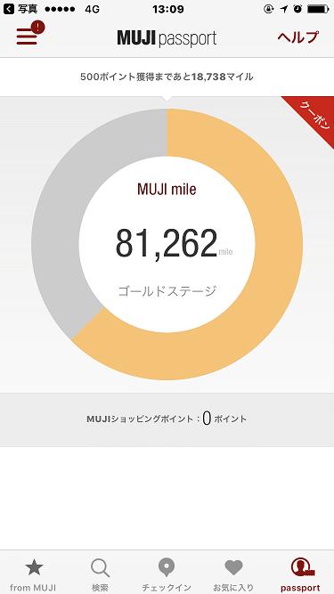 MUJI passportのMUJI mile