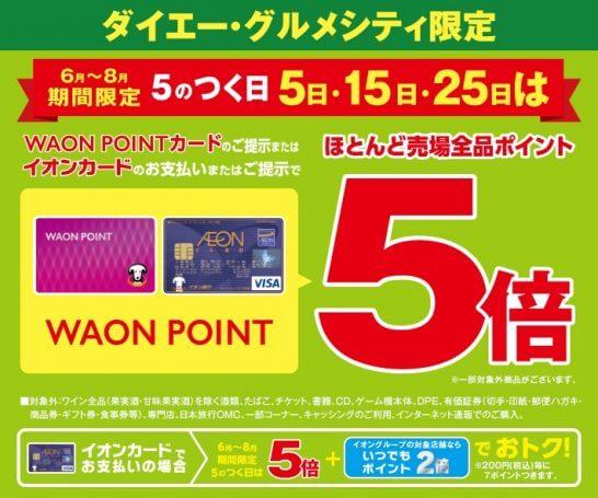 WAONポイントカードのダイエー・グルメシティ ポイント5倍キャンペーン