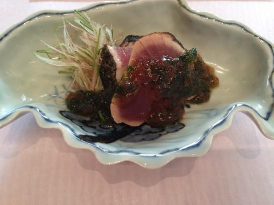 銀座 志の鰹のたたき 香味野菜 生のり酢ジュレ