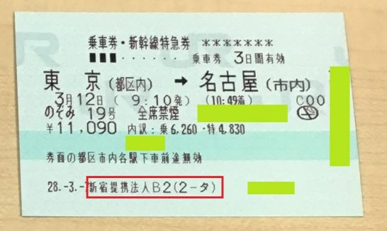 コンシェルジュで手配した新幹線の切符