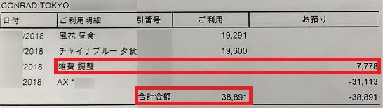 HPCJのレストラン20%OFF特典で7,778円割引となった明細