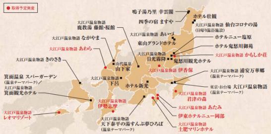 大江戸温泉ホールディングスの保有物件