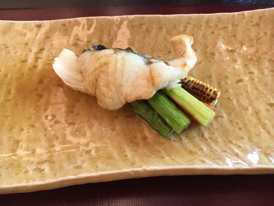 日本料理「はなの」の「なでしこ」の焼物(すずきオイル焼)