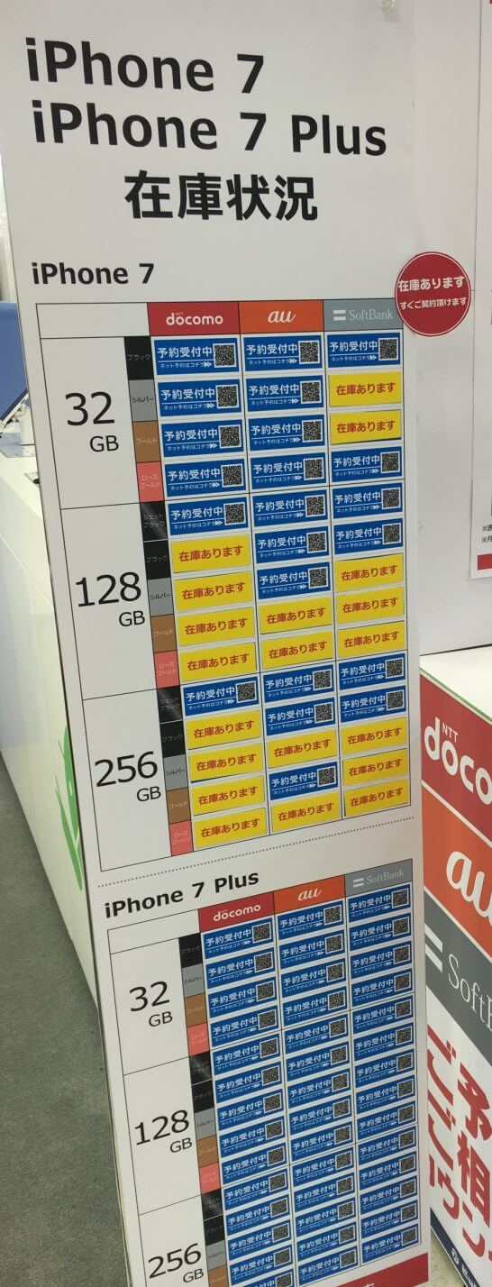 iPhone7発売日の午前11時のビックカメラ有楽町の在庫状況