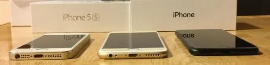 iPhone 5sと6sとiPhone7(底面)