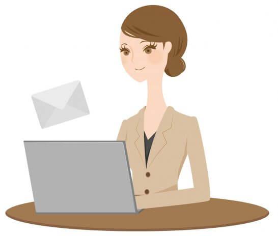 Eメールを送信する女性のイラスト