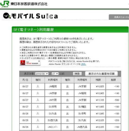 モバイルSuica会員サイトの電子マネー利用履歴