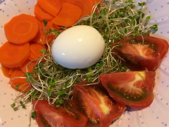Oisixの卵、トマト、人参など