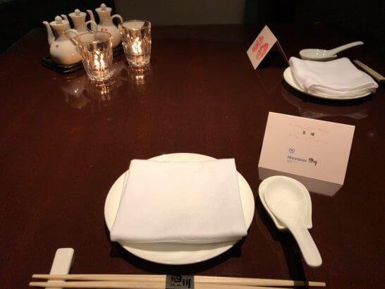シェラトン都ホテル東京の四川のテーブル