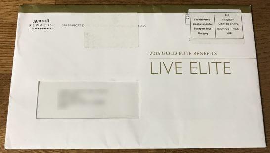 マリオット ゴールドエリート会員証が入った郵便物