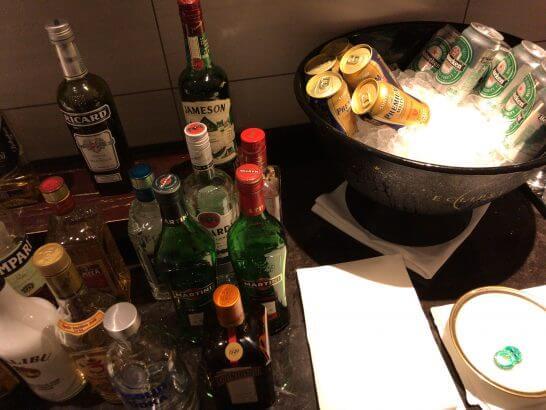 東京マリオットホテルのエグゼクティブラウンジのお酒類