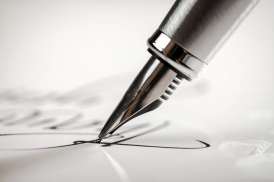 万年筆でのサイン