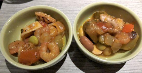 東京マリオットホテルのエグゼクティブラウンジの魚介料理