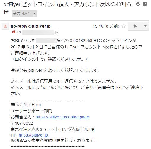 bitFlyer ビットコインお預入・アカウント反映のお知らせ