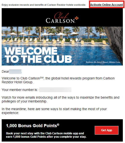 Club Carlson - Activate your online account todayの連絡メール