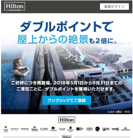 ヒルトン・オナーズのダブルポイントキャンペーン