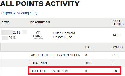 ヒルトンオナーズのゴールド会員のボーナスポイント獲得履歴