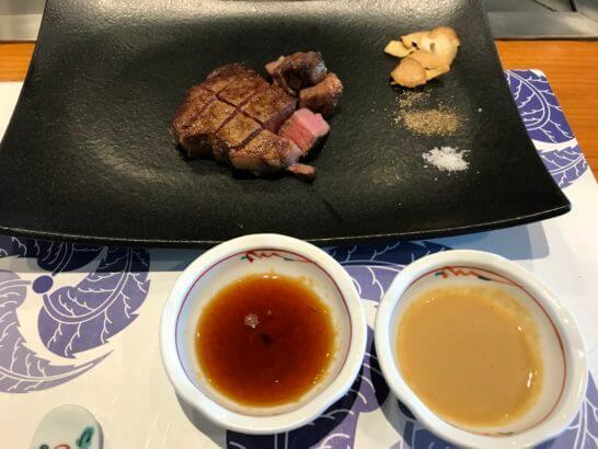 帝国ホテル東京の嘉門のUSリブロースステーキ、たれ