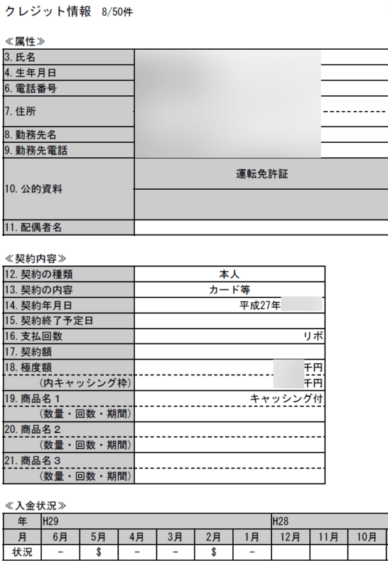 CICの信用情報(入金状況)の抜粋