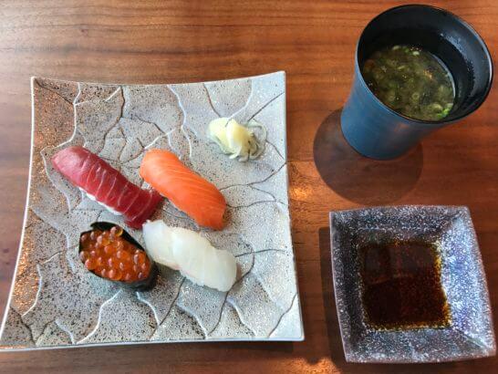 寿司四種盛り合わせと味噌汁