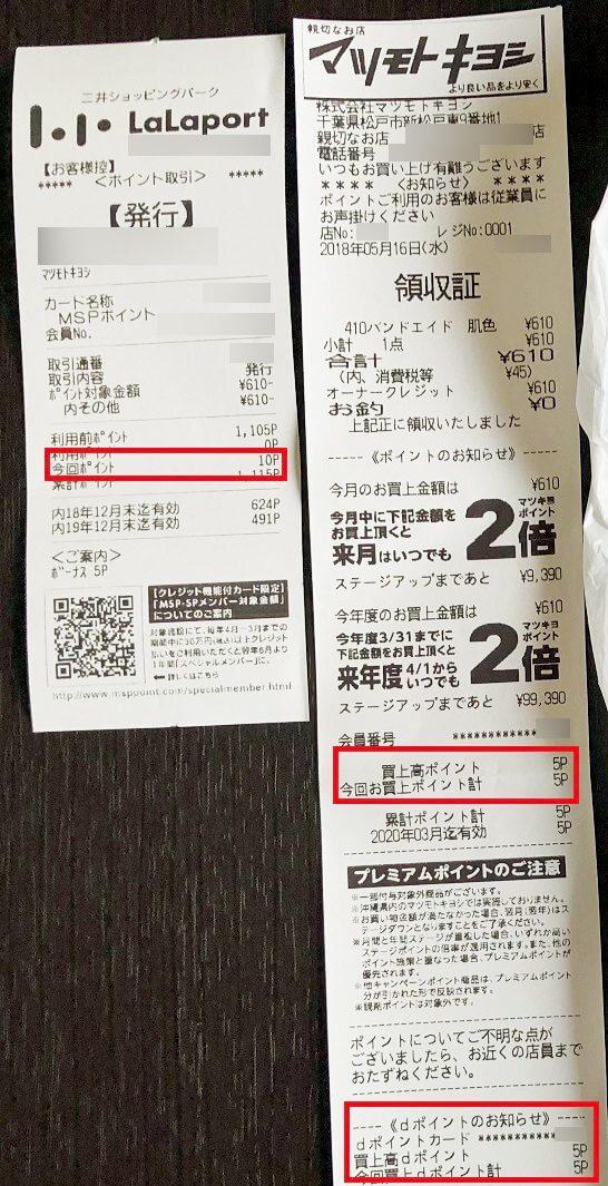 ららぽーとのマツモトキヨシでの購入レシート(ポイント三重取り)