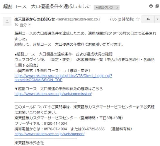 楽天証券 超割コースの延長のお知らせメール