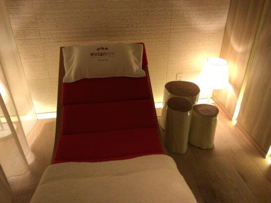 パレスホテル東京のエビアンスパの待合室