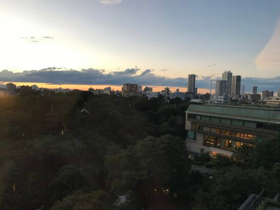 椿山荘東京のスイートルームからの景色(夕暮れ)