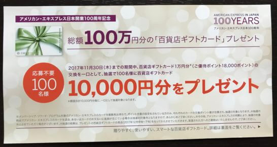 百貨店ギフトカード1万円分プレゼントのキャンペーン
